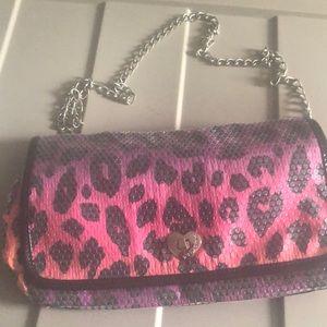 Betsey Johnson rainbow cheetah chain bag pink